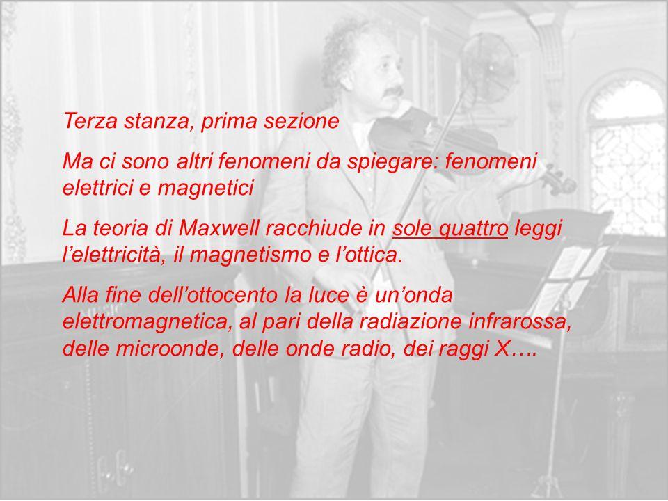 Terza stanza, prima sezione Ma ci sono altri fenomeni da spiegare: fenomeni elettrici e magnetici La teoria di Maxwell racchiude in sole quattro leggi