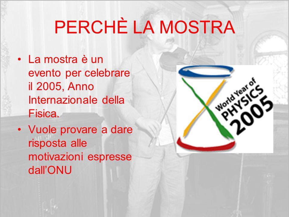PERCHÈ LA MOSTRA La mostra è un evento per celebrare il 2005, Anno Internazionale della Fisica. Vuole provare a dare risposta alle motivazioni espress