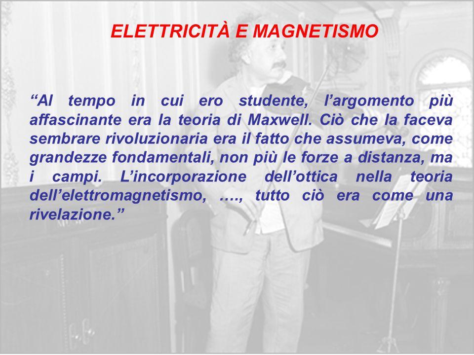 ELETTRICITÀ E MAGNETISMO Al tempo in cui ero studente, largomento più affascinante era la teoria di Maxwell. Ciò che la faceva sembrare rivoluzionaria