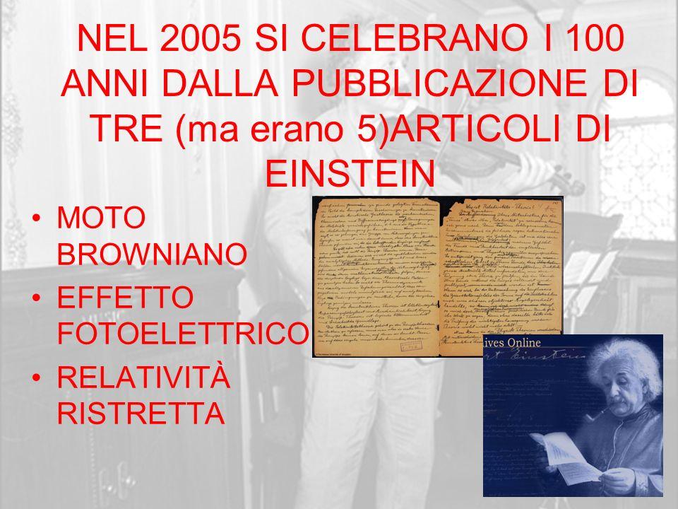 NEL 2005 SI CELEBRANO I 100 ANNI DALLA PUBBLICAZIONE DI TRE (ma erano 5)ARTICOLI DI EINSTEIN MOTO BROWNIANO EFFETTO FOTOELETTRICO RELATIVITÀ RISTRETTA