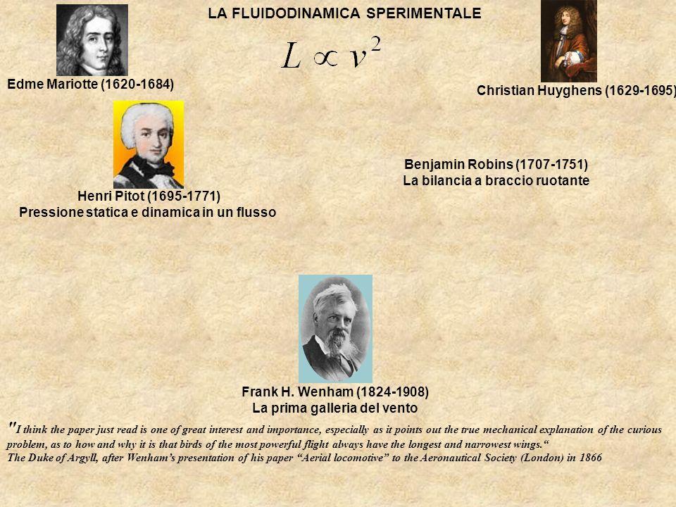 LA FLUIDODINAMICA SPERIMENTALE Edme Mariotte (1620-1684) Christian Huyghens (1629-1695) Henri Pitot (1695-1771) Pressione statica e dinamica in un flu