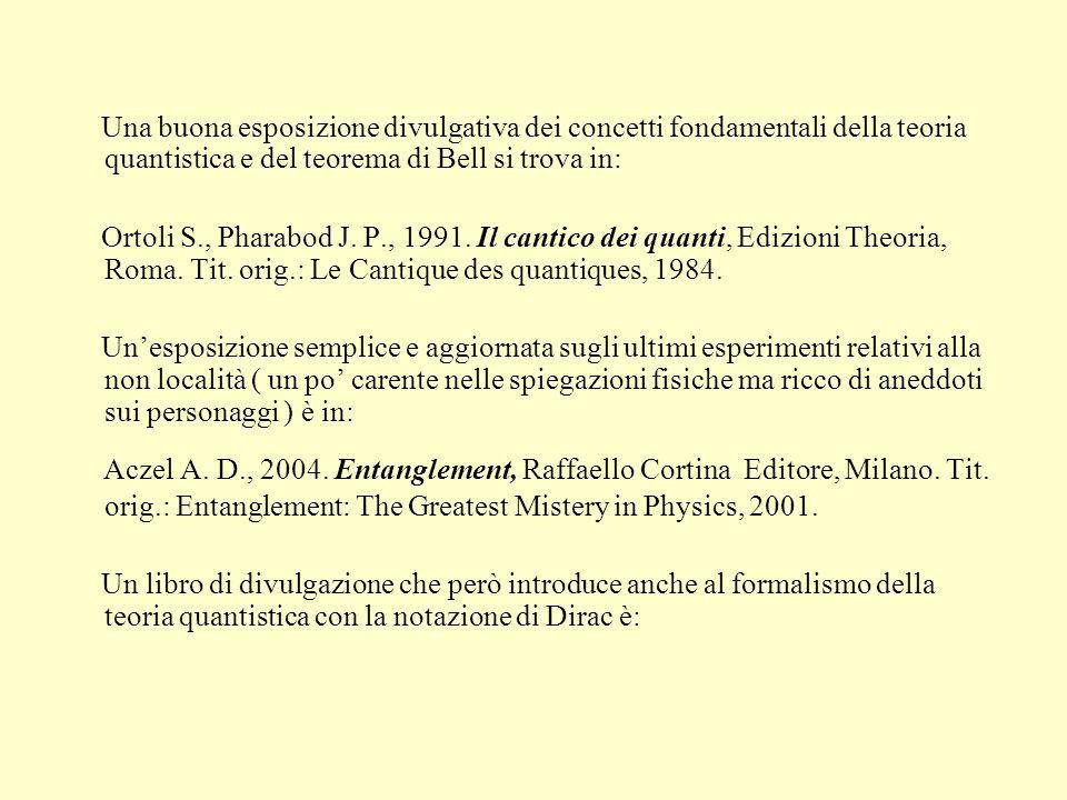 Una buona esposizione divulgativa dei concetti fondamentali della teoria quantistica e del teorema di Bell si trova in: Ortoli S., Pharabod J. P., 199