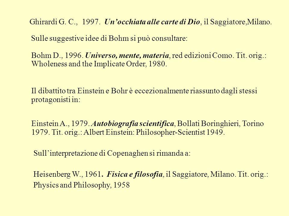 Ghirardi G. C., 1997. Unocchiata alle carte di Dio, il Saggiatore,Milano. Bohm D., 1996. Universo, mente, materia, red edizioni Como. Tit. orig.: Whol