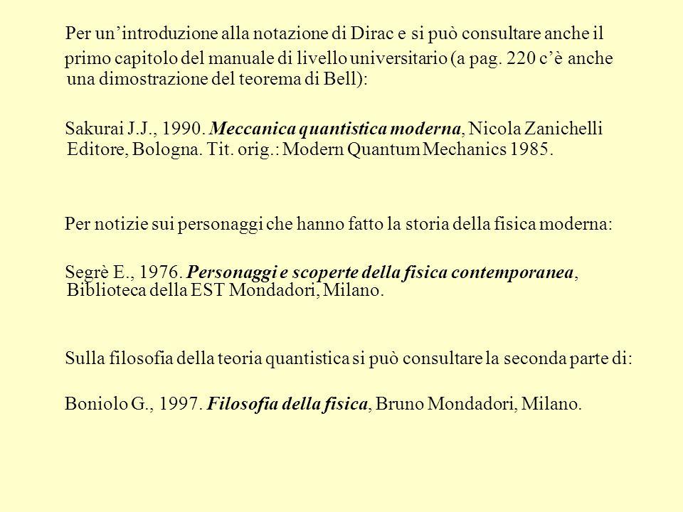 Per unintroduzione alla notazione di Dirac e si può consultare anche il primo capitolo del manuale di livello universitario (a pag. 220 cè anche una d