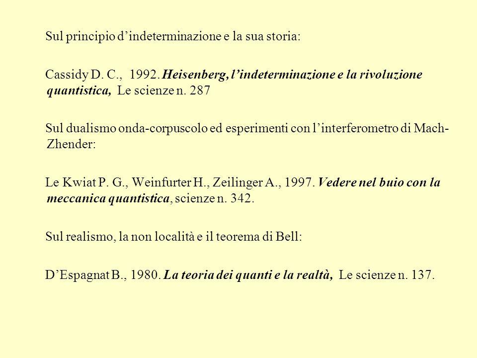 Sul principio dindeterminazione e la sua storia: Cassidy D. C., 1992. Heisenberg, lindeterminazione e la rivoluzione quantistica, Le scienze n. 287 Su