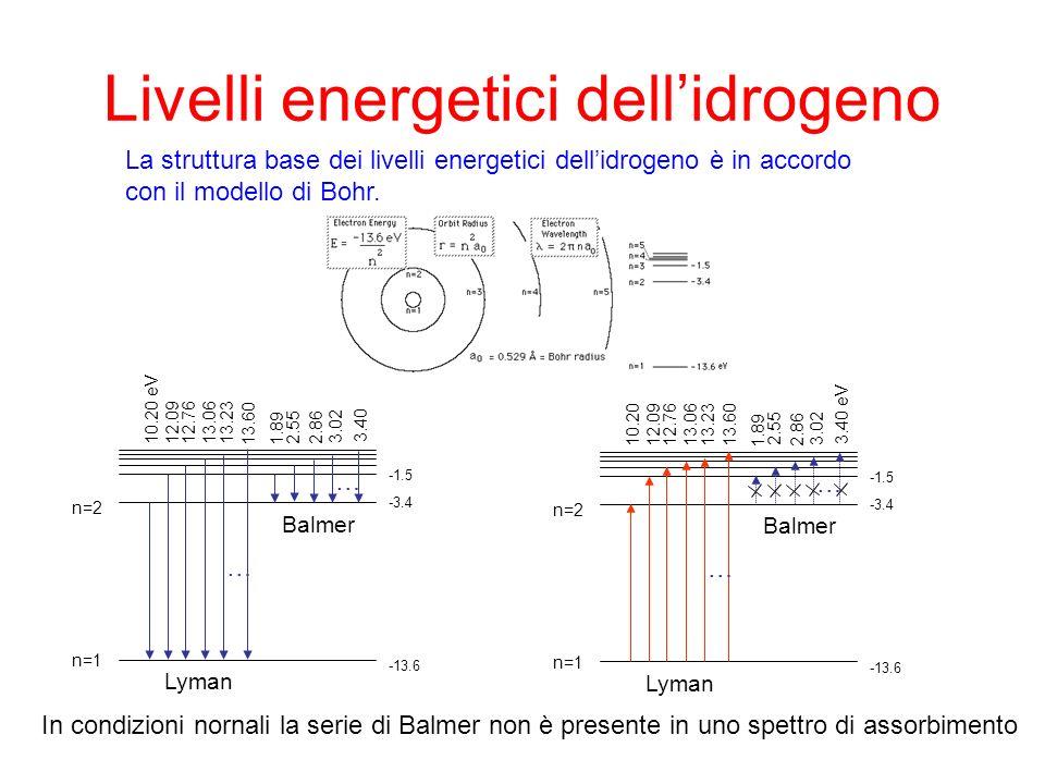 Livelli energetici dellidrogeno La struttura base dei livelli energetici dellidrogeno è in accordo con il modello di Bohr. … … Balmer Lyman n=1 n=2 10