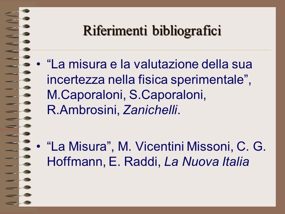Riferimenti bibliografici La misura e la valutazione della sua incertezza nella fisica sperimentale, M.Caporaloni, S.Caporaloni, R.Ambrosini, Zanichelli.