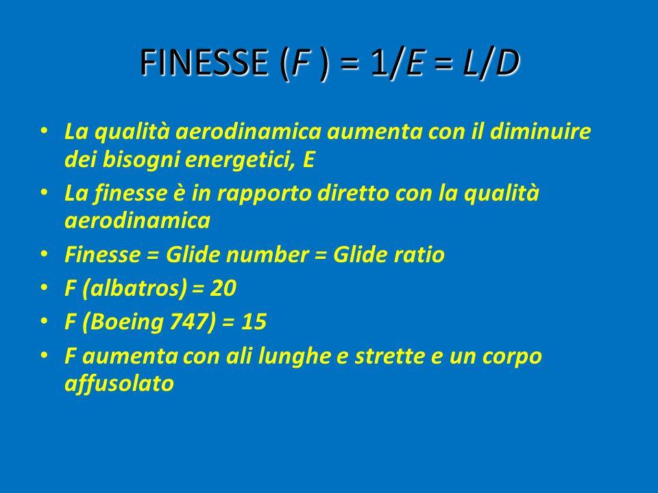 FINESSE (F ) = 1/E = L/D La qualità aerodinamica aumenta con il diminuire dei bisogni energetici, E La finesse è in rapporto diretto con la qualità aerodinamica Finesse = Glide number = Glide ratio F (albatros) = 20 F (Boeing 747) = 15 F aumenta con ali lunghe e strette e un corpo affusolato