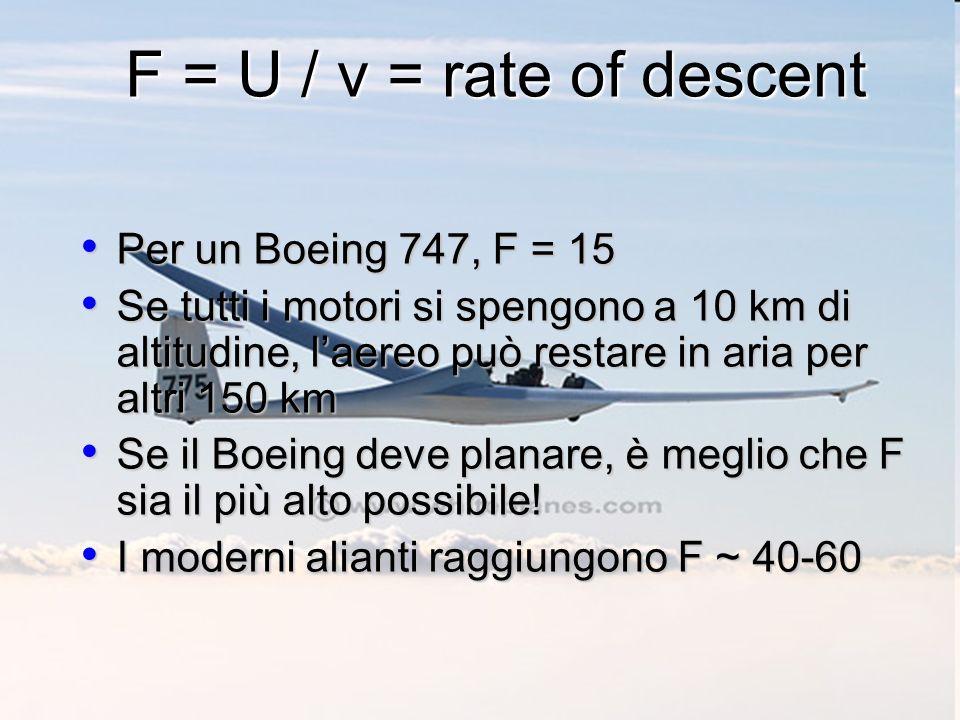 F = U / v = rate of descent Per un Boeing 747, F = 15 Per un Boeing 747, F = 15 Se tutti i motori si spengono a 10 km di altitudine, laereo può restare in aria per altri 150 km Se tutti i motori si spengono a 10 km di altitudine, laereo può restare in aria per altri 150 km Se il Boeing deve planare, è meglio che F sia il più alto possibile.