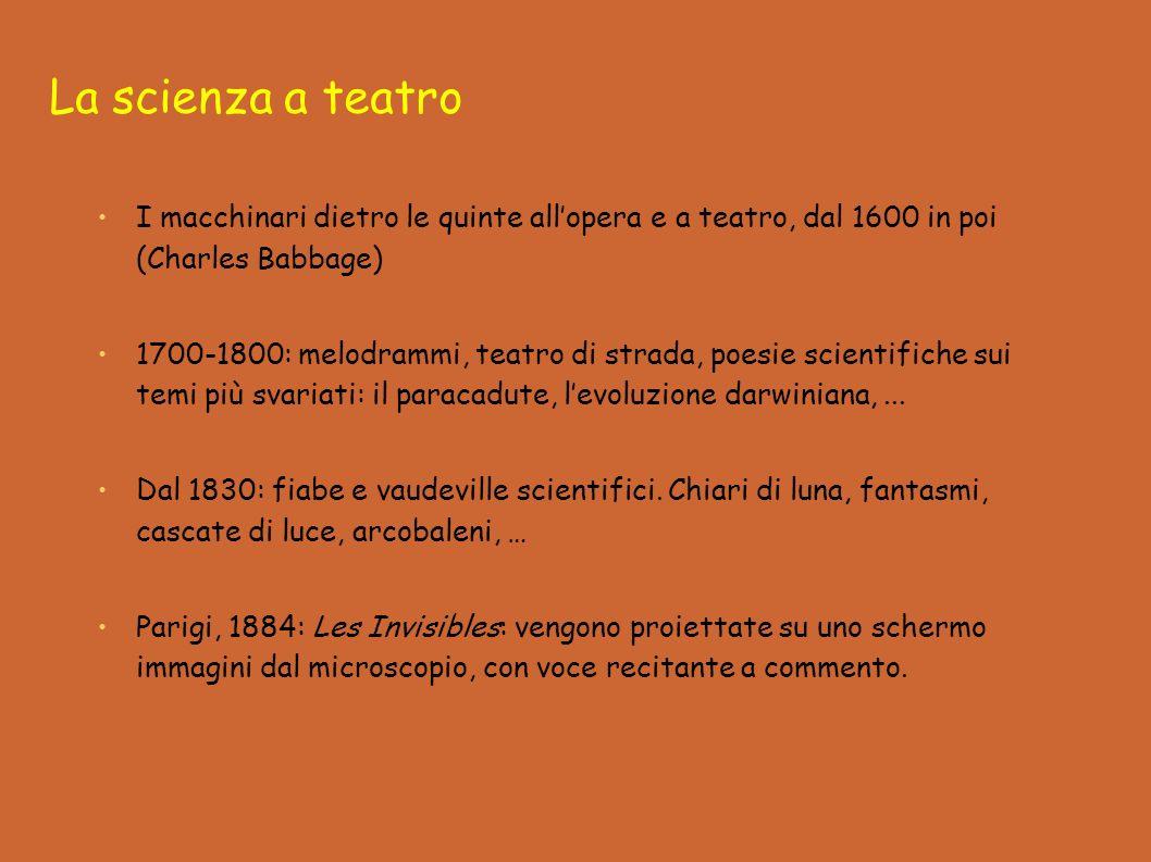 I macchinari dietro le quinte allopera e a teatro, dal 1600 in poi (Charles Babbage) 1700-1800: melodrammi, teatro di strada, poesie scientifiche sui temi più svariati: il paracadute, levoluzione darwiniana,...