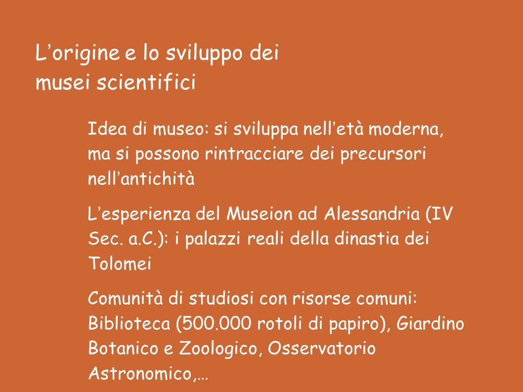 Lorigine e lo sviluppo dei musei scientifici Idea di museo: si sviluppa nelletà moderna, ma si possono rintracciare dei precursori nellantichità Lesperienza del Museion ad Alessandria (IV Sec.