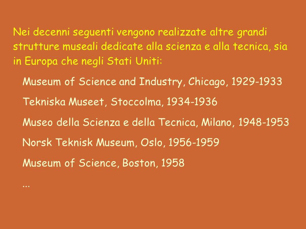Nei decenni seguenti vengono realizzate altre grandi strutture museali dedicate alla scienza e alla tecnica, sia in Europa che negli Stati Uniti: Museum of Science and Industry, Chicago, 1929-1933 Tekniska Museet, Stoccolma, 1934-1936 Museo della Scienza e della Tecnica, Milano, 1948-1953 Norsk Teknisk Museum, Oslo, 1956-1959 Museum of Science, Boston, 1958...