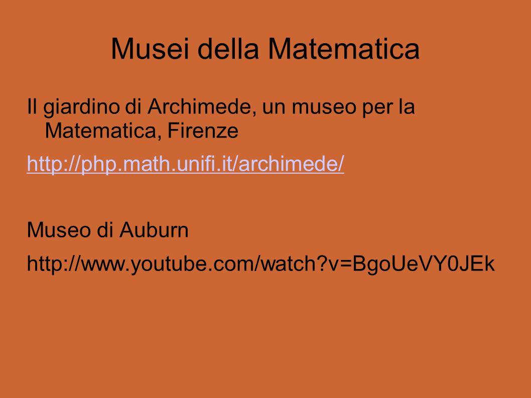 Musei della Matematica Il giardino di Archimede, un museo per la Matematica, Firenze http://php.math.unifi.it/archimede/ Museo di Auburn http://www.youtube.com/watch?v=BgoUeVY0JEk