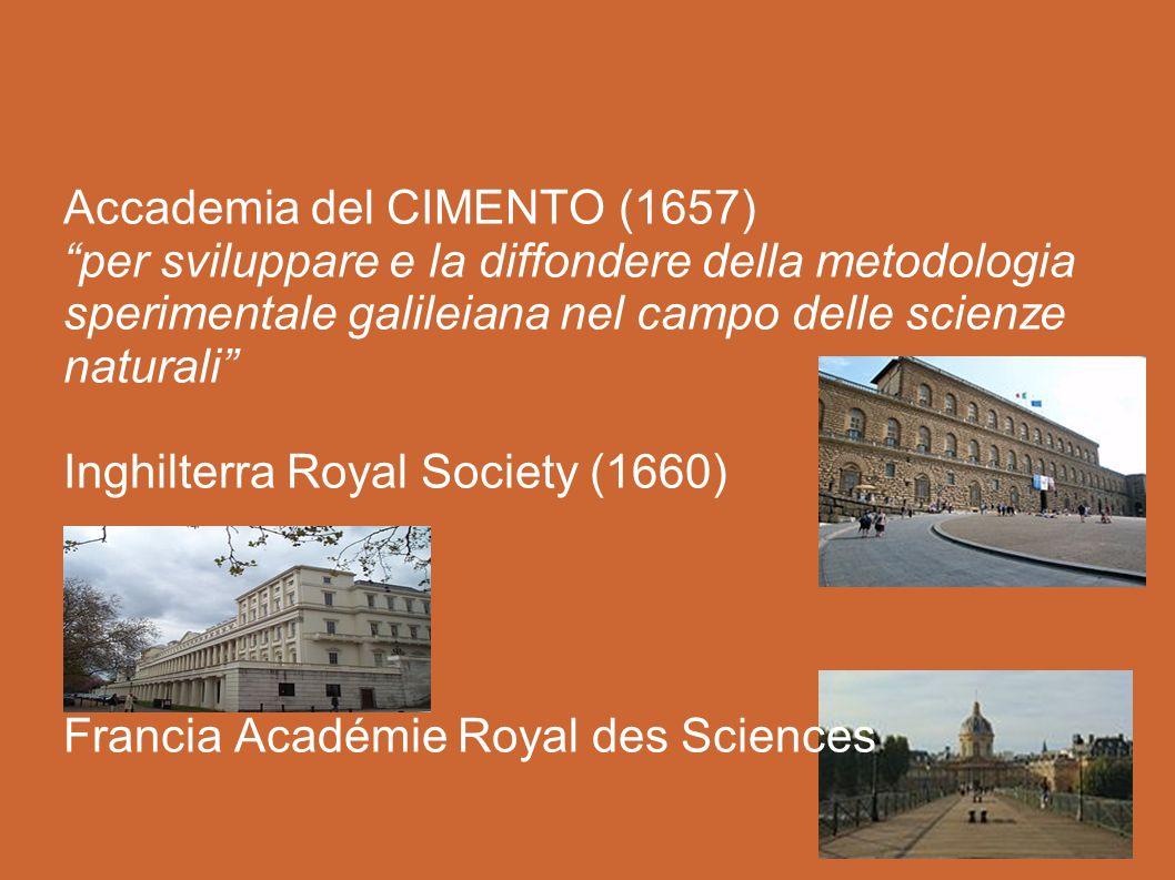 Accademia del CIMENTO (1657) per sviluppare e la diffondere della metodologia sperimentale galileiana nel campo delle scienze naturali Inghilterra Royal Society (1660) Francia Académie Royal des Sciences