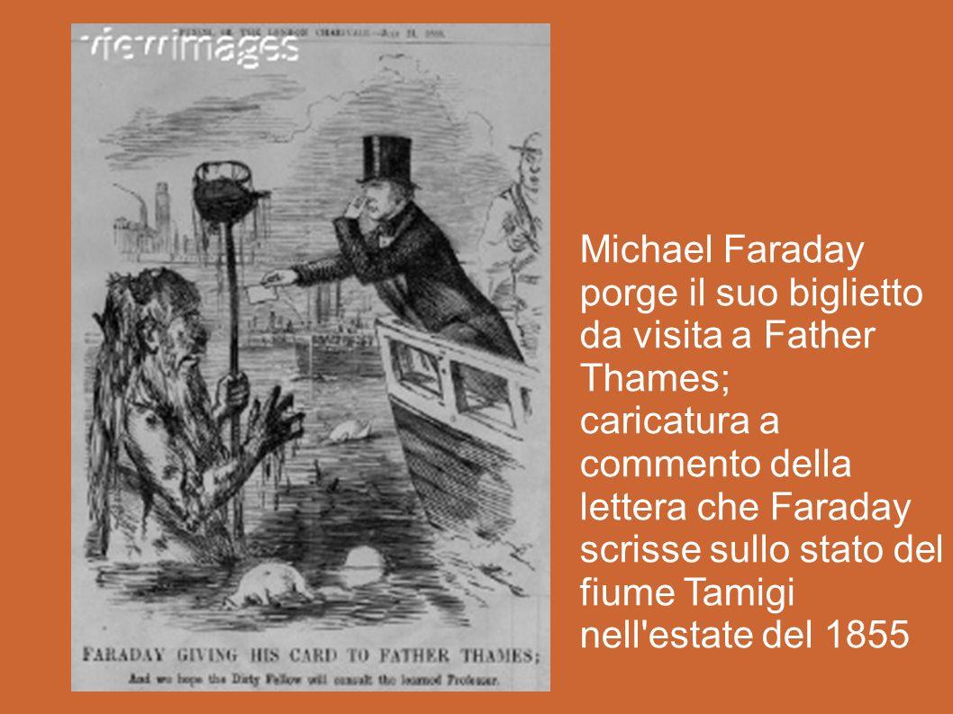 Michael Faraday porge il suo biglietto da visita a Father Thames; caricatura a commento della lettera che Faraday scrisse sullo stato del fiume Tamigi nell estate del 1855