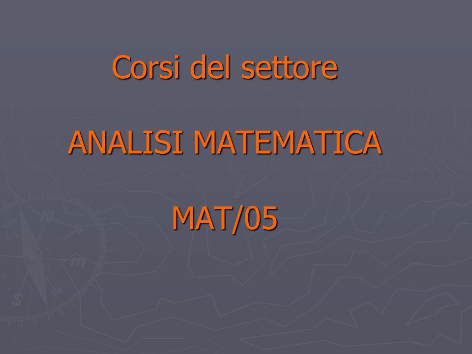 Corsi del settore ANALISI MATEMATICA MAT/05