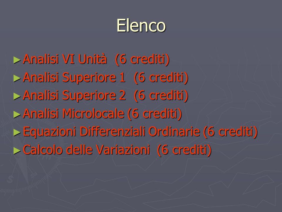 Elenco Analisi VI Unità (6 crediti) Analisi VI Unità (6 crediti) Analisi Superiore 1 (6 crediti) Analisi Superiore 1 (6 crediti) Analisi Superiore 2 (