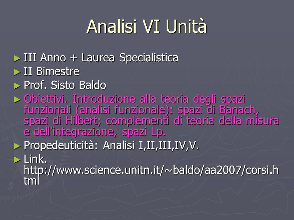 Analisi VI Unità III Anno + Laurea Specialistica III Anno + Laurea Specialistica II Bimestre II Bimestre Prof. Sisto Baldo Prof. Sisto Baldo Obiettivi