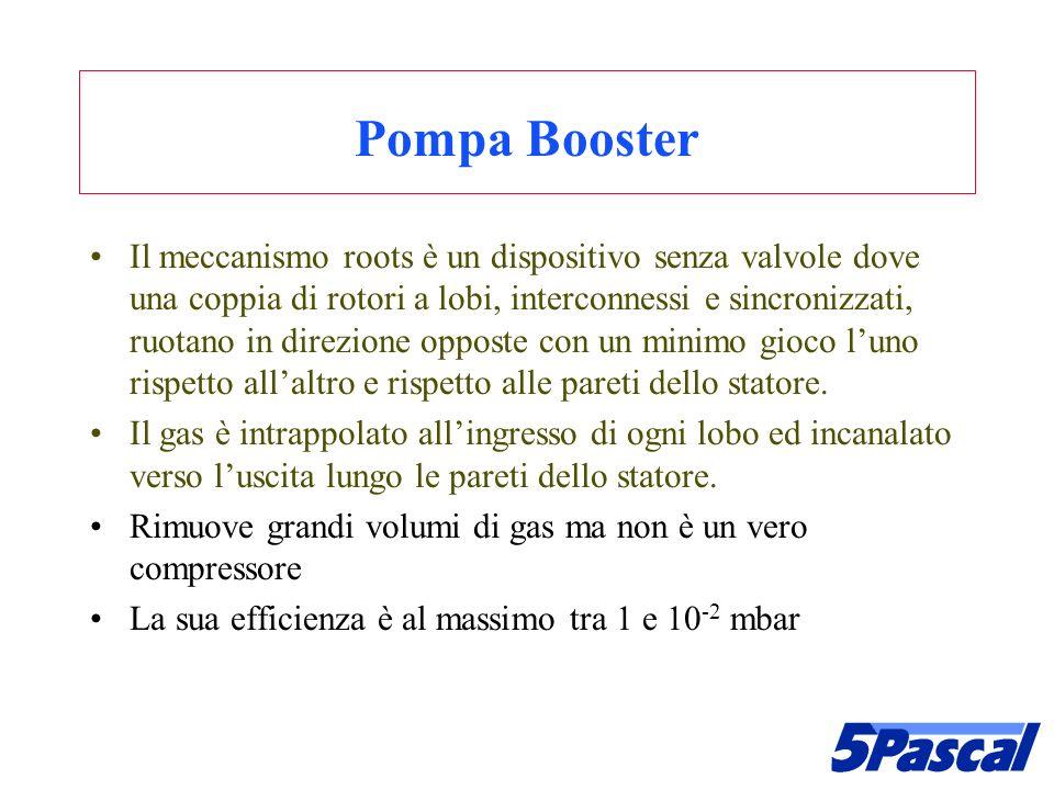Pompa Booster Il meccanismo roots è un dispositivo senza valvole dove una coppia di rotori a lobi, interconnessi e sincronizzati, ruotano in direzione