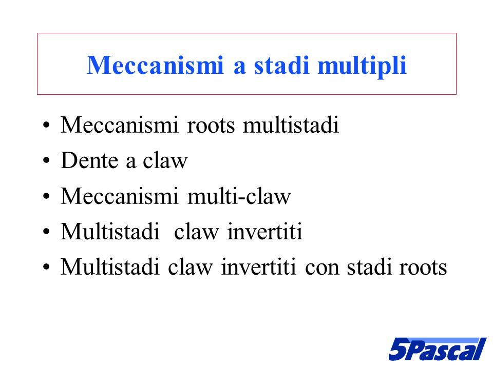 Meccanismi a stadi multipli Meccanismi roots multistadi Dente a claw Meccanismi multi-claw Multistadi claw invertiti Multistadi claw invertiti con sta