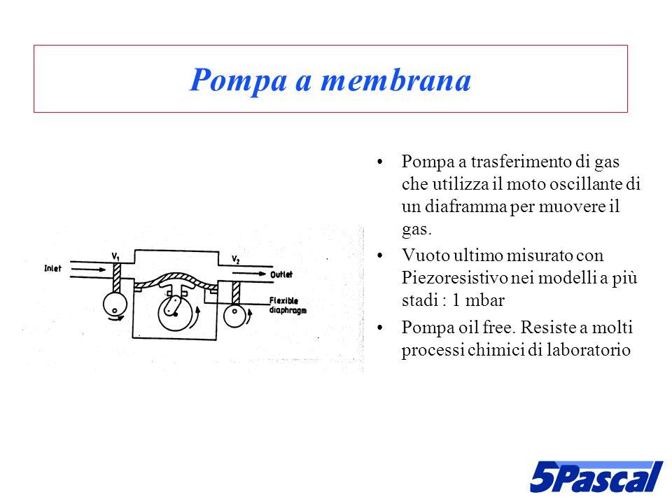 Pompa a membrana Pompa a trasferimento di gas che utilizza il moto oscillante di un diaframma per muovere il gas. Vuoto ultimo misurato con Piezoresis