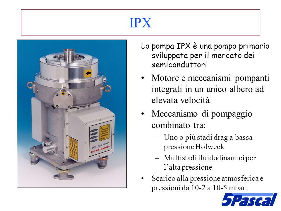 IPX La pompa IPX è una pompa primaria sviluppata per il mercato dei semiconduttori Motore e meccanismi pompanti integrati in un unico albero ad elevat