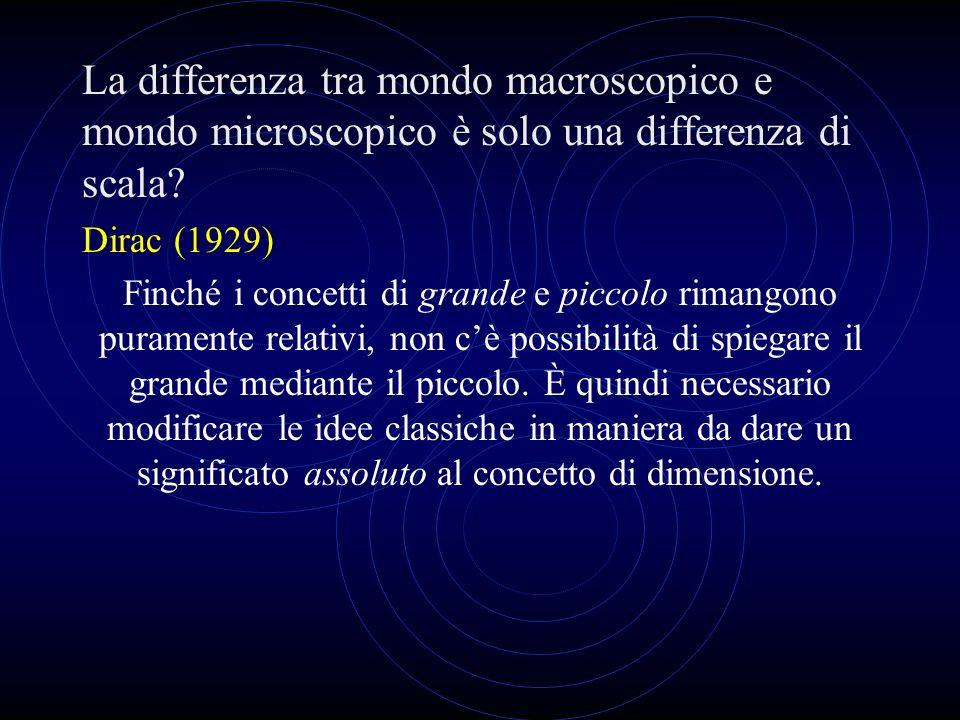 La differenza tra mondo macroscopico e mondo microscopico è solo una differenza di scala? Dirac (1929) Finché i concetti di grande e piccolo rimangono