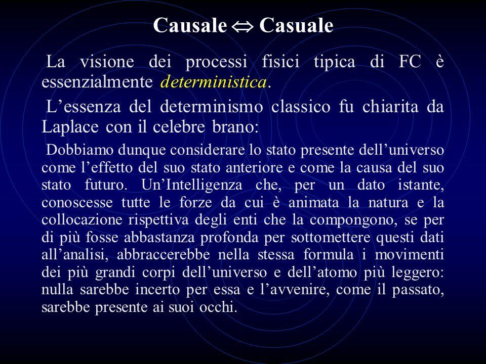 Causale Casuale La visione dei processi fisici tipica di FC è essenzialmente deterministica. Lessenza del determinismo classico fu chiarita da Laplace