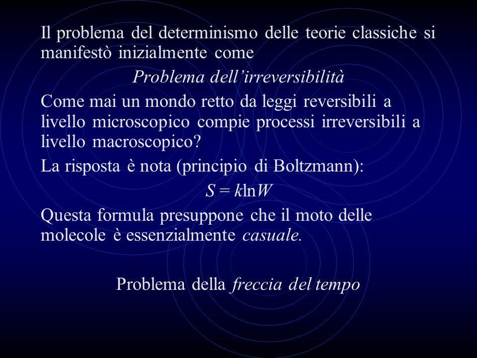 Il problema del determinismo delle teorie classiche si manifestò inizialmente come Problema dellirreversibilità Come mai un mondo retto da leggi rever