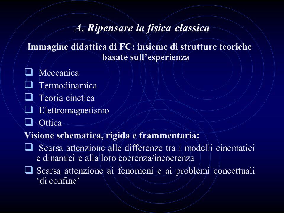 A. Ripensare la fisica classica Immagine didattica di FC: insieme di strutture teoriche basate sullesperienza Meccanica Termodinamica Teoria cinetica
