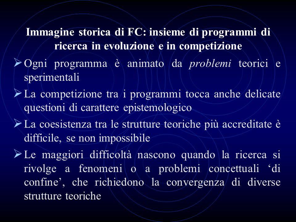Ogni programma è animato da problemi teorici e sperimentali La competizione tra i programmi tocca anche delicate questioni di carattere epistemologico