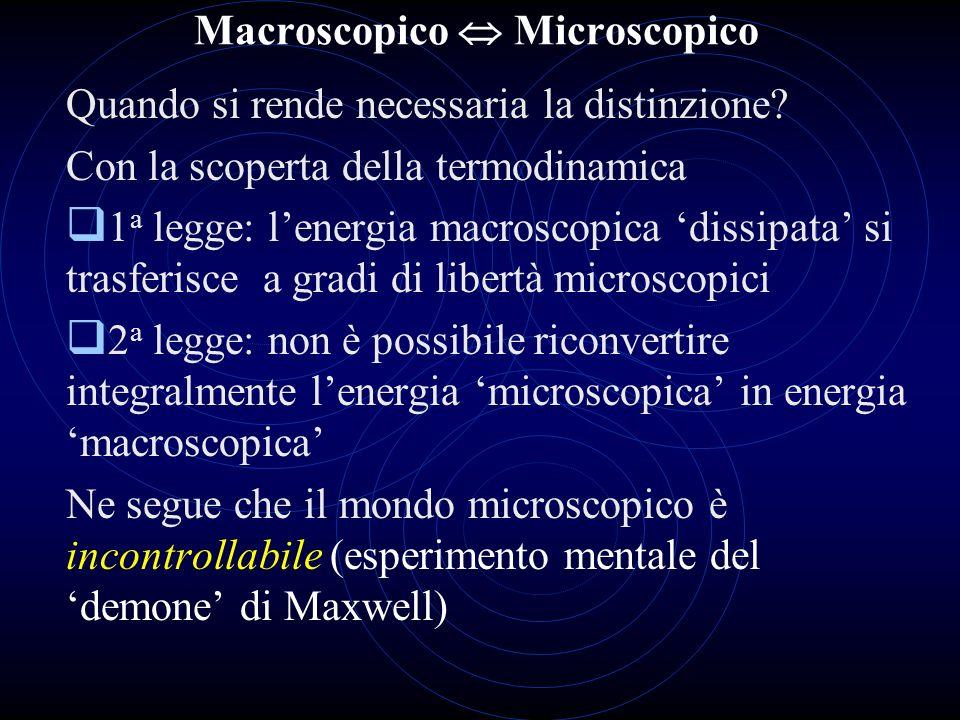 Macroscopico Microscopico Quando si rende necessaria la distinzione? Con la scoperta della termodinamica 1 a legge: lenergia macroscopica dissipata si
