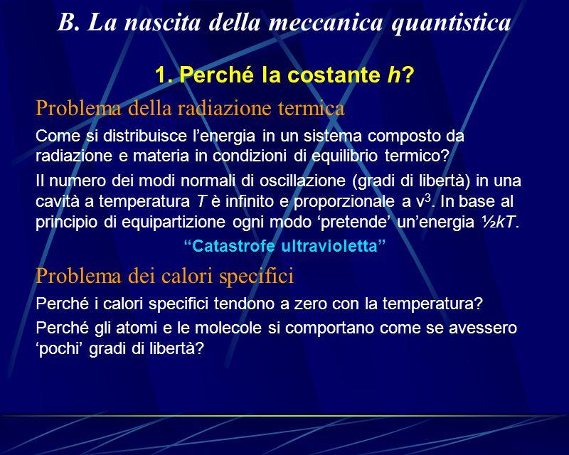B. La nascita della meccanica quantistica 1. Perché la costante h? Problema della radiazione termica Come si distribuisce lenergia in un sistema compo
