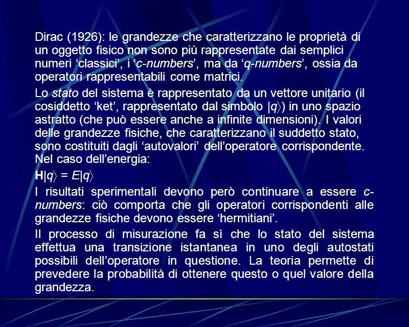 Dirac (1926): le grandezze che caratterizzano le proprietà di un oggetto fisico non sono più rappresentate dai semplici numeri classici, i c-numbers,