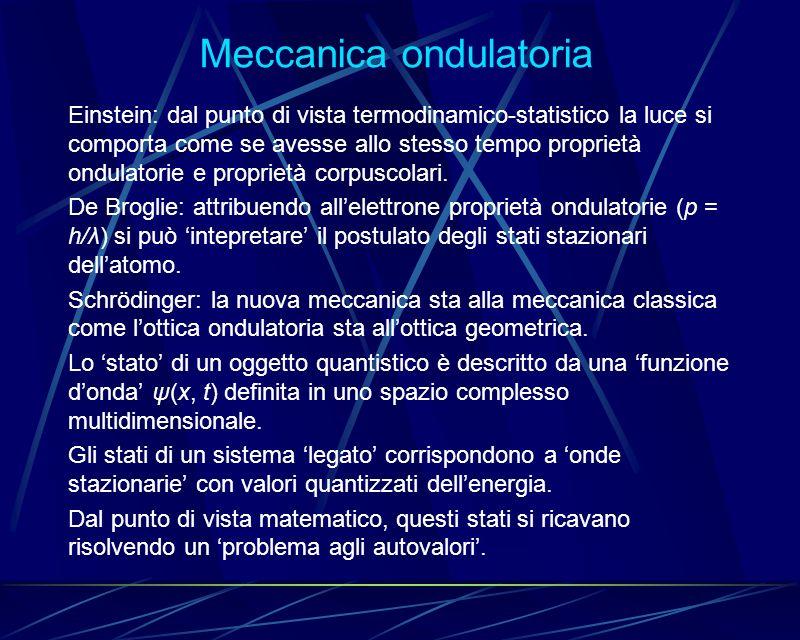 Meccanica ondulatoria Einstein: dal punto di vista termodinamico-statistico la luce si comporta come se avesse allo stesso tempo proprietà ondulatorie