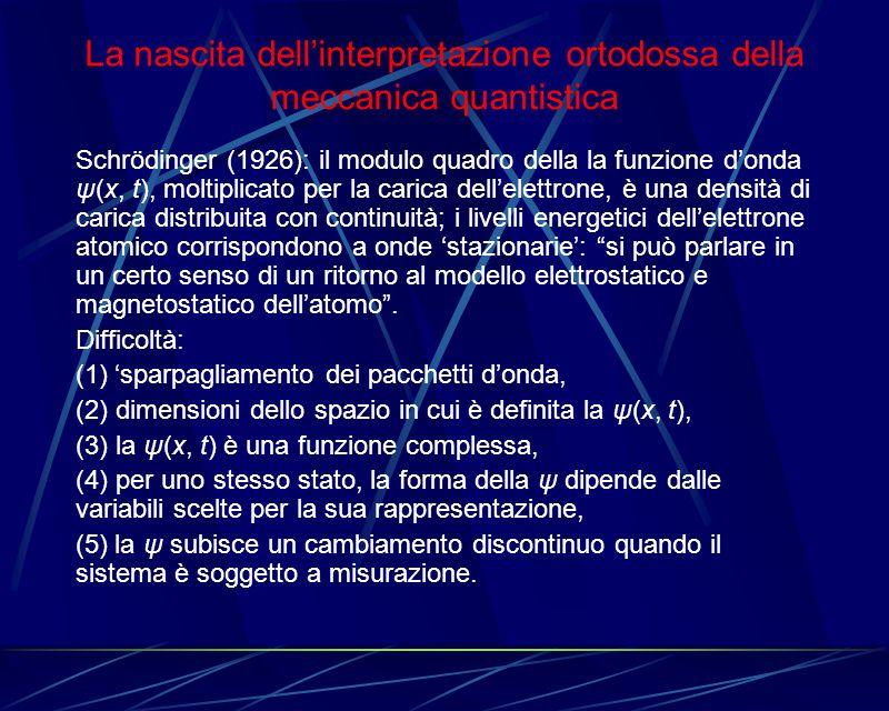 La nascita dellinterpretazione ortodossa della meccanica quantistica Schrödinger (1926): il modulo quadro della la funzione donda ψ(x, t), moltiplicat