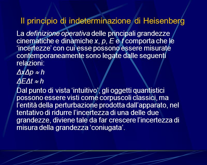 Il principio di indeterminazione di Heisenberg La definizione operativa delle principali grandezze cinematiche e dinamiche x, p, E e t comporta che le