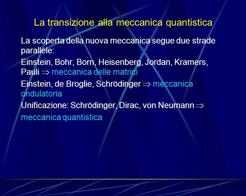 La transizione alla meccanica quantistica La scoperta della nuova meccanica segue due strade parallele: Einstein, Bohr, Born, Heisenberg, Jordan, Kram