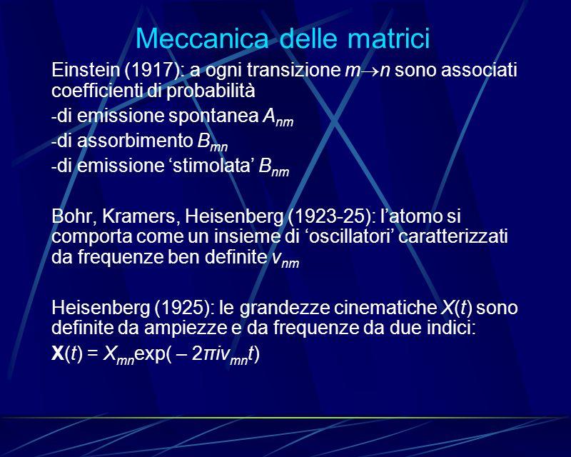 Meccanica delle matrici Einstein (1917): a ogni transizione m n sono associati coefficienti di probabilità - di emissione spontanea A nm - di assorbim