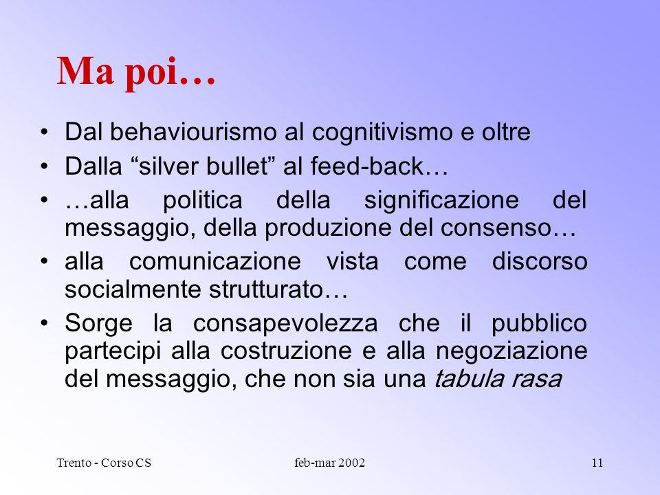 Trento - Corso CSfeb-mar 200210 Cose la comunicazione della scienza? Vista così, la CS implica distorsione, semplificazione, e lanalisi principale ten