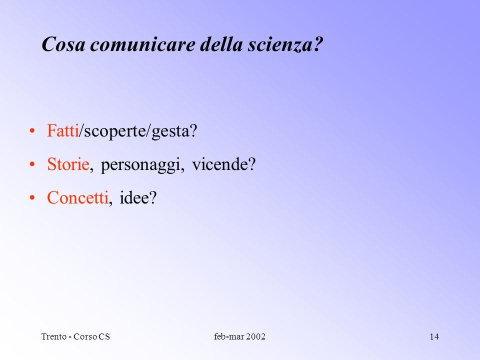 Trento - Corso CSfeb-mar 200213 Perche la comunicazione della scienza? Per garantire il diritto democratico allinformazione? Per ottenere fondi/ricono