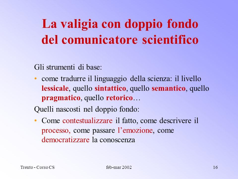 Trento - Corso CSfeb-mar 200215 Cosa comunicare della scienza? Processi, metodi? Contesto, implicazioni sociali, politiche? Ecc.