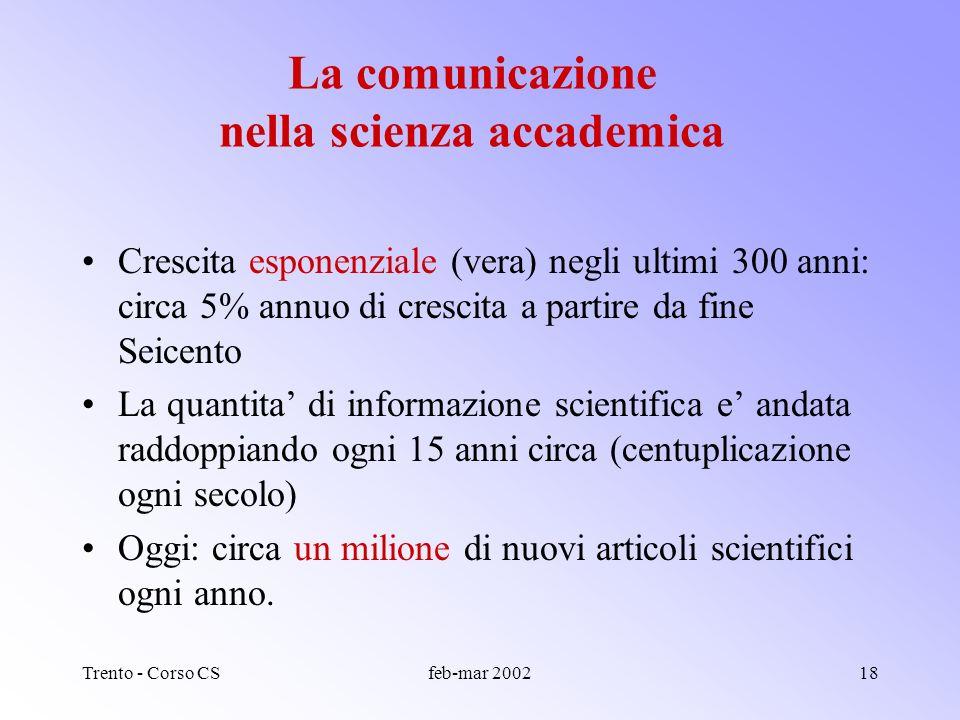 Trento - Corso CSfeb-mar 200217 La comunicazione come istituzione fondamentale della scienza accademica Scrive John Ziman: Il principio basilare della scienza accademica e che i risultati della ricerca devono essere resi pubblici.