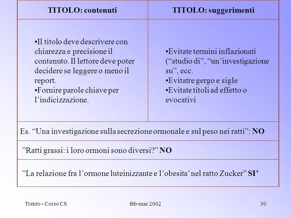 Trento - Corso CSfeb-mar 200229 Struttura di un report Titolo: diretto, breve, informativo Abstract (sommario): scopo dellesperimento, risultati princ