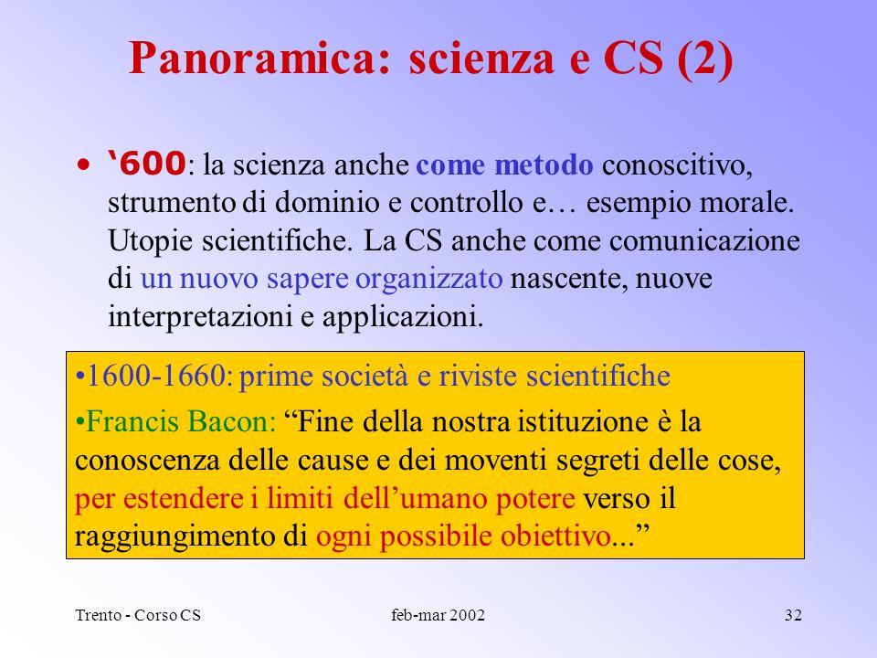 Trento - Corso CSfeb-mar 200231 Panoramica: scienza e CS (1) 400-500 : Cose mai viste: la riscossa dei vili meccanici, la stampa, larchibugio, la buss