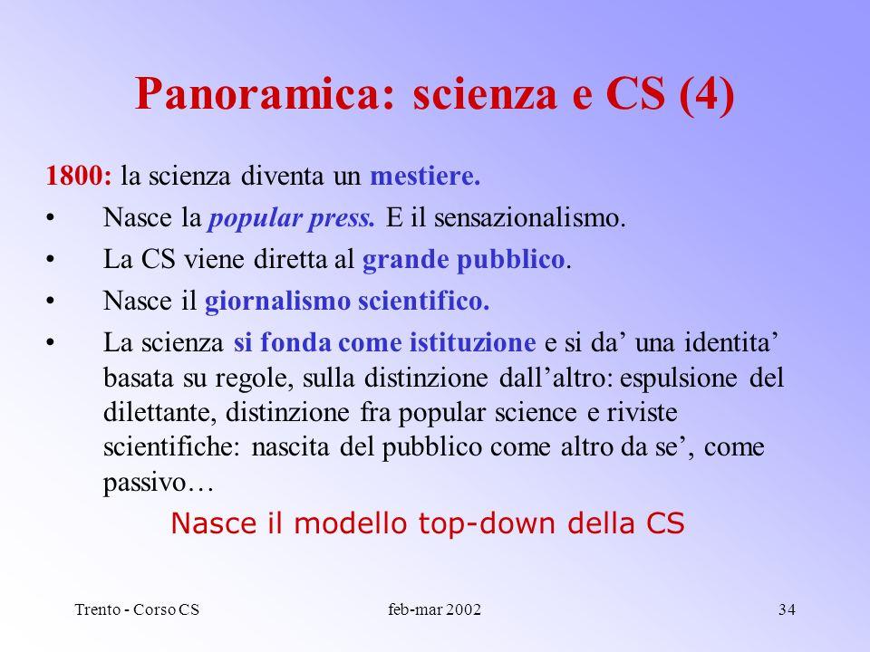 Trento - Corso CSfeb-mar 200233 Illuminismo : la CS come diffusione (divulgazione) della ragione per tutti e tutte. Pedagogia, donne, Encyclopedie, sa
