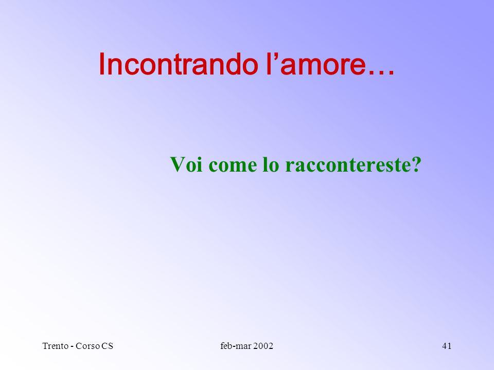 Trento - Corso CSfeb-mar 200240 Kiss: il testo diventa parlato KISS: Keep It Short and Simple Titolo: desta attenzione, attrae, fa il punto o anche so