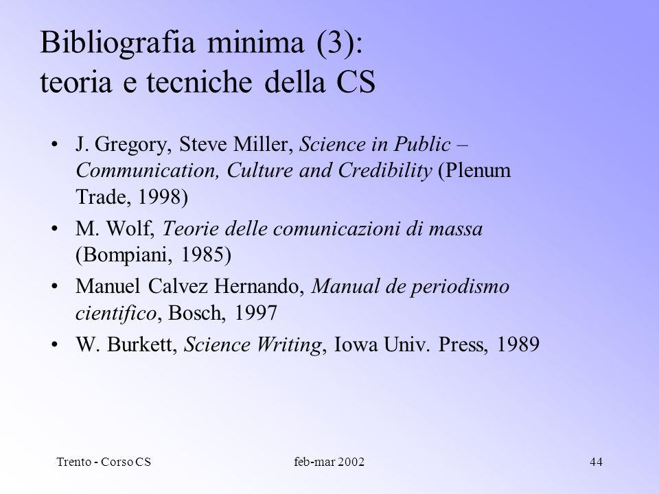 Trento - Corso CSfeb-mar 200243 Bibliografia minima (2): sociologia della scienza J. Ziman, Il lavoro dello scienziato (Laterza, 1987) J. Ziman, Real
