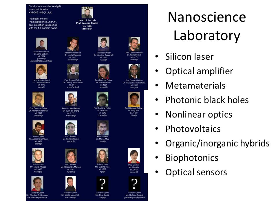 Nanoscience Laboratory Silicon laser Optical amplifier Metamaterials Photonic black holes Nonlinear optics Photovoltaics Organic/inorganic hybrids Bio