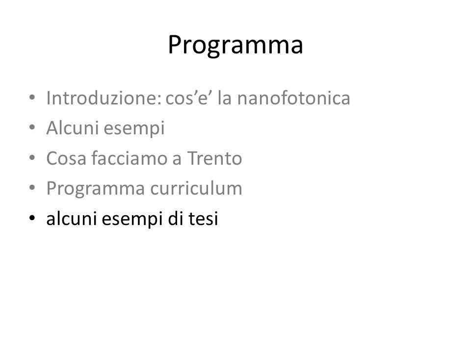 Programma Introduzione: cose la nanofotonica Alcuni esempi Cosa facciamo a Trento Programma curriculum alcuni esempi di tesi